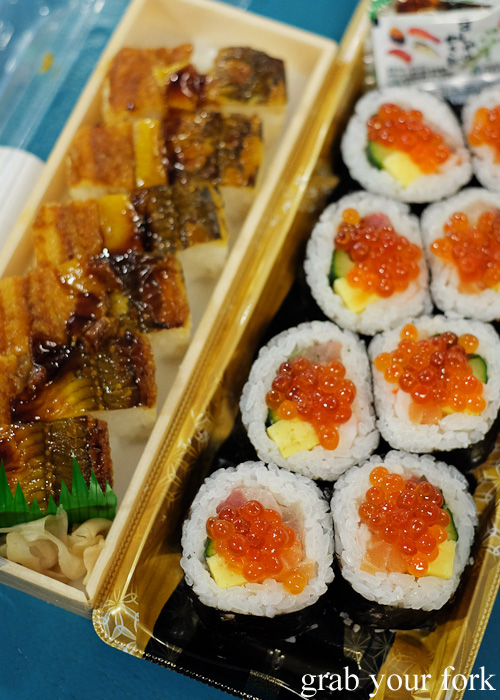 Anago saltwater eel box sushi and maki sushi with salmon roe