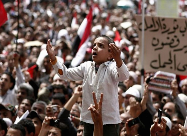 A boy during Arab Spring protests in Egypt