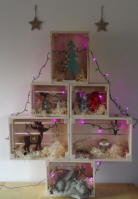 Crate Christmas tree with lights