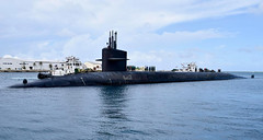 USS Pennsylvania (SSBN 735) approaches the pier in Guam, Oct. 31. (U.S. Navy/Seaman Daniel S. Willoughby)
