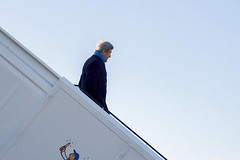 U.S. Secretary of State John Kerry deplanes at Berlin International Tegel Nord Airport in Berlin, Germany, on December 5, 2016, before a bilateral meeting with German Foreign Minister Frank-Walter Steinmeier and receiving the Order of Merit from the German government. [State Department photo/ Public Domain]
