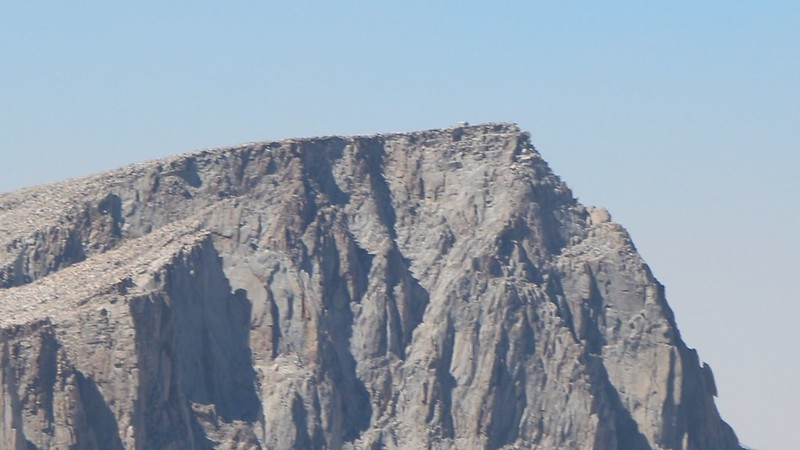 Zoomed-in view of the hut on Mount Whitney from the Summit of Mount Langley, five miles away