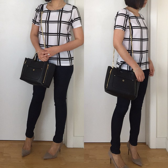 Shein White Black Plaid Short Sleeve Chiffon Blouse, size S
