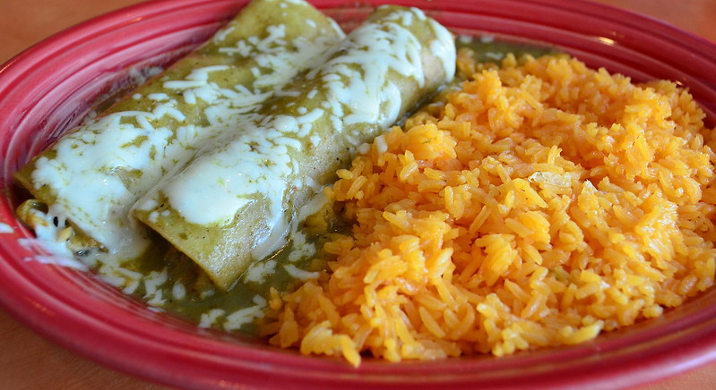 Chicken Enchiladas Verdes with Spanish Rice