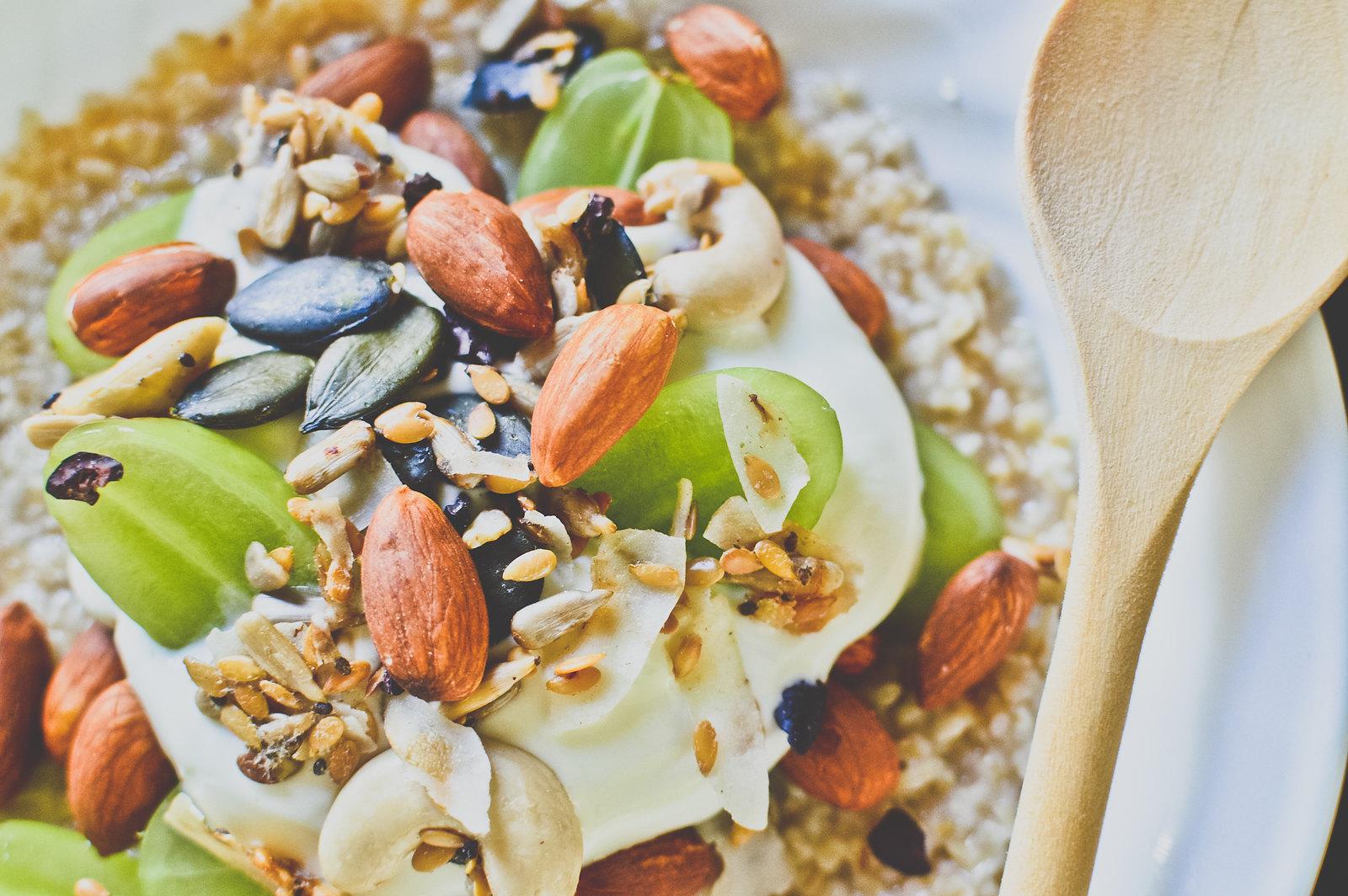 Steel-Cut Oat Porridge with Honey, Roasted Almonds, Green Grapes and Greek Yogurt