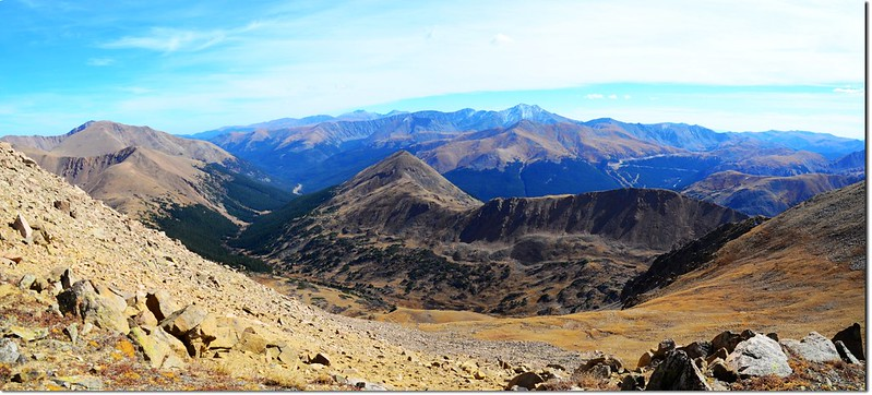 Looking down onto the Herman Gulch from the saddle between point 13,418' & Pettingell's summit