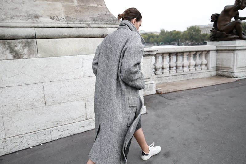 winter essentials, all grey, Paris, street style, comfort dressing, oversized coat, Isabel Marant Bart sneakers, MODERN LEGACY x MATCHESFASHION.COM, Raey