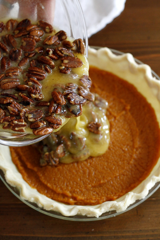 Pecan Pumpkin Pie with Bourbon Maple Whipped Cream | Girl ...