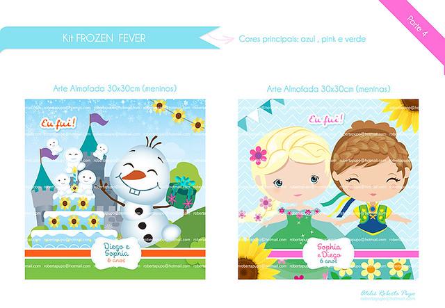 Arte Almofada 30x30cm_Kit Frozen Fever_Diego e Sophia #frozenfever