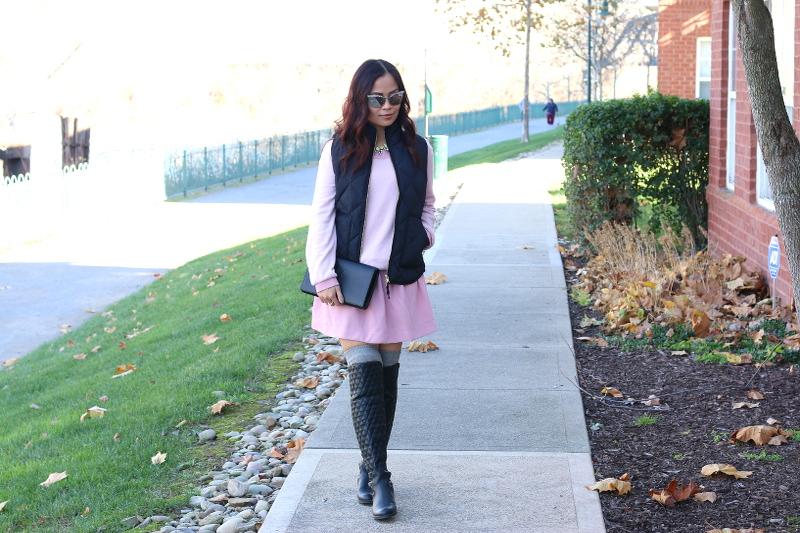 lattori pink dress, black puffer vest