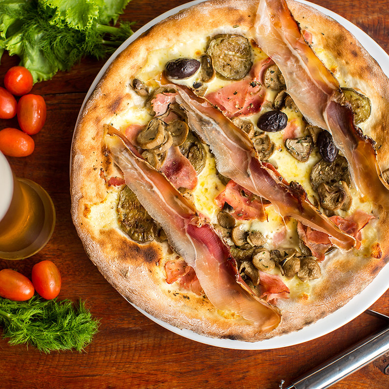 Assorted Meat pizza with jamon and olives