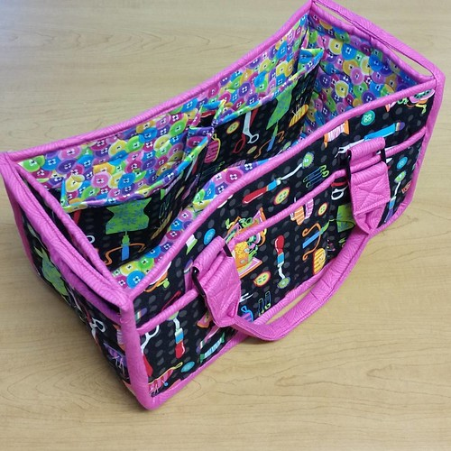 The Carry All Caddy is DONE! This one tested my patience, but I'm glad I made it and look forward to teaching it next year at The Sewing Center!  I love the size and stability of it. This is a class you won't want to miss, as the pattern doesn't have a lo
