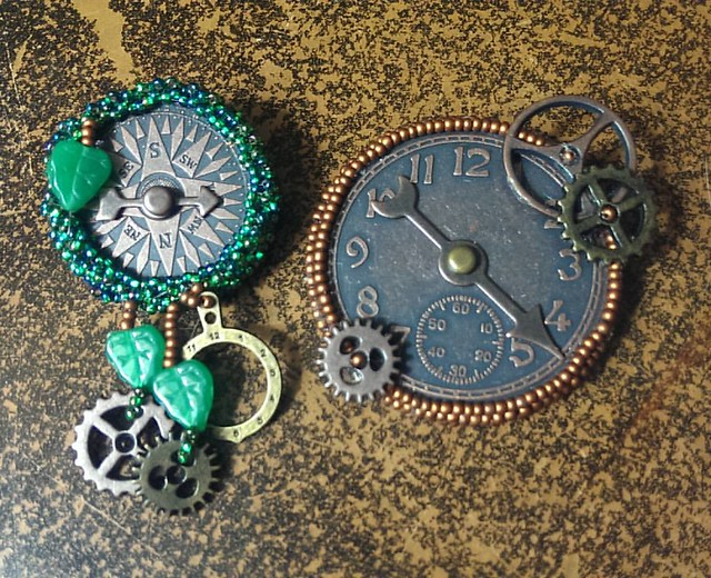 Clockwork Steampunk brooches  Two finished, several to go. Yes, the pointers move.