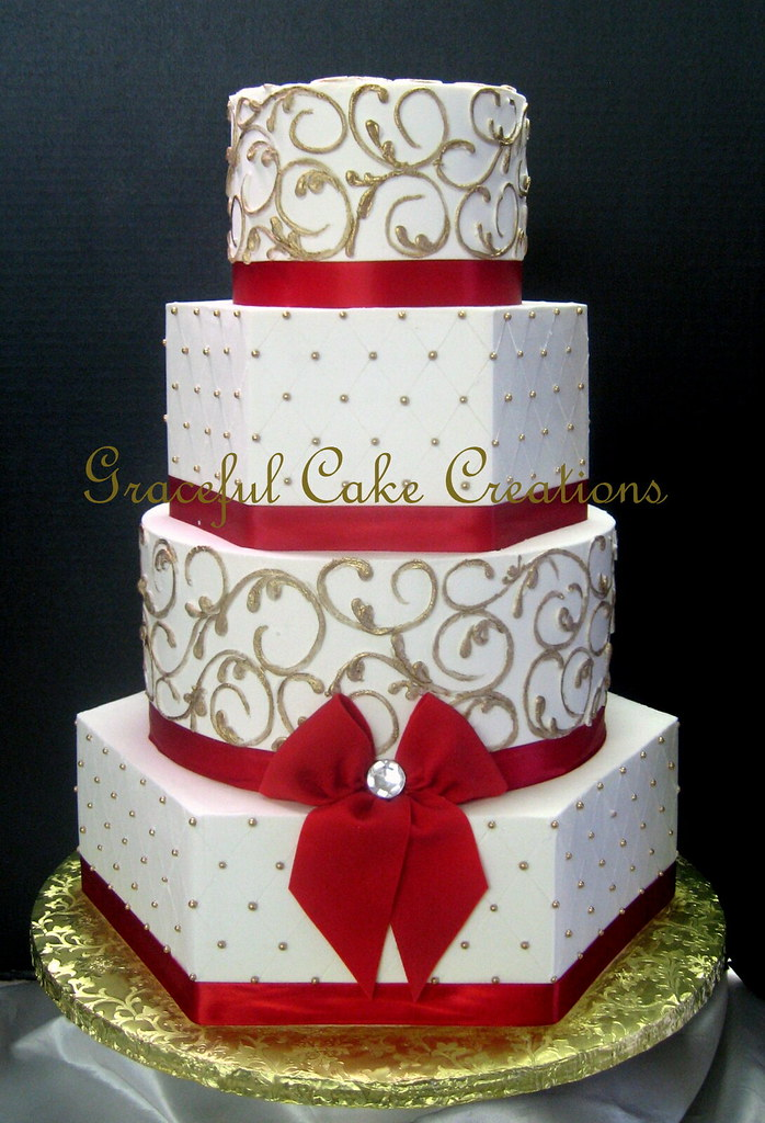 White Cake Gold Ribbon