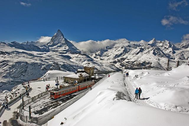Swiss train expirience : the Gornerrgrat The Matterhorn , an alpine panorama. No, 4319.