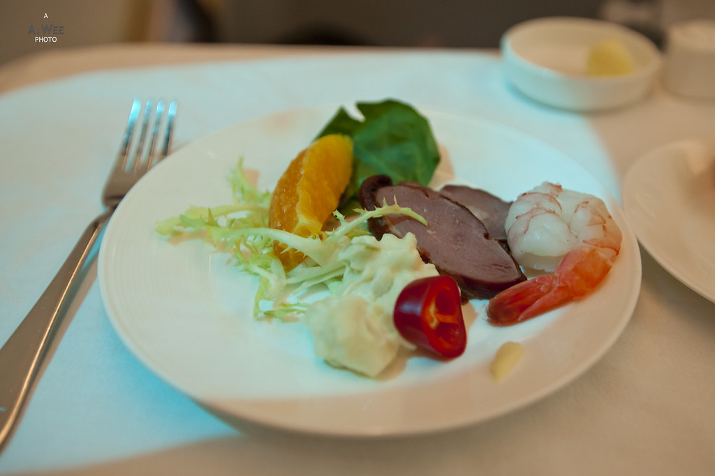Smoked duck and prawn with potato salad