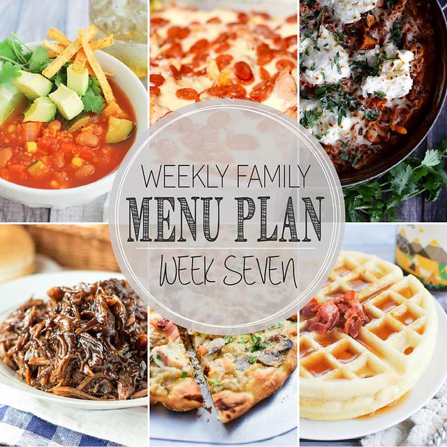 Weekly Family Menu Plan - 5 weeknight dinner recipes, one weekend breakfast, and a yummy dessert!