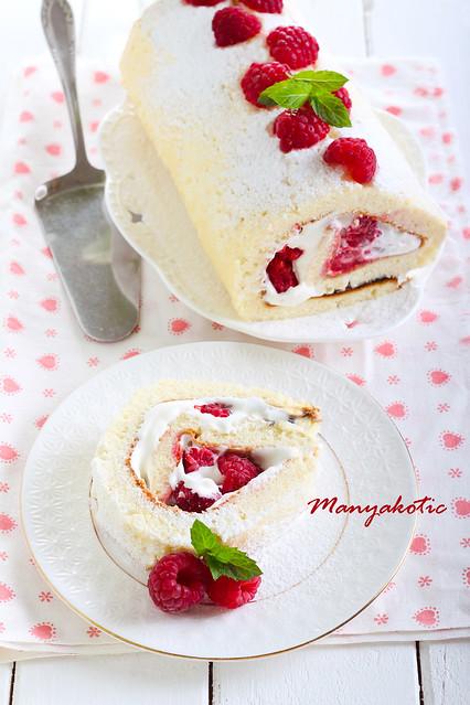 Cream and raspberry filling swiss roll