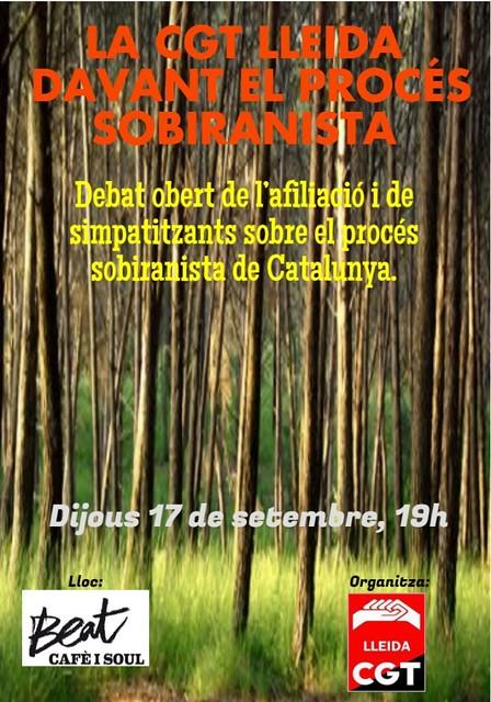 Debat de la CGT al voltant del procés sobiranista, el dijous 17 de setembre a Lleida