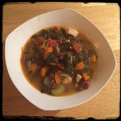 #Homemade #Callaloo #Chicken and #Tomato #Soup #CucinaDelloZio - poured over rice