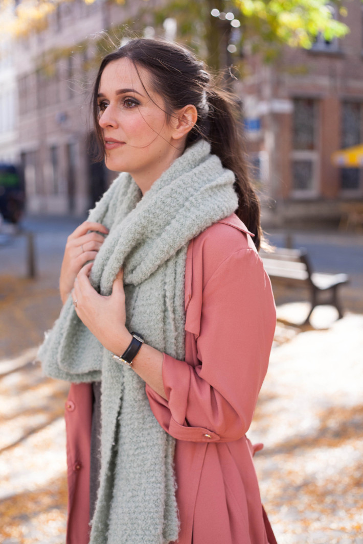 pink duster coat, oversized mint scarf