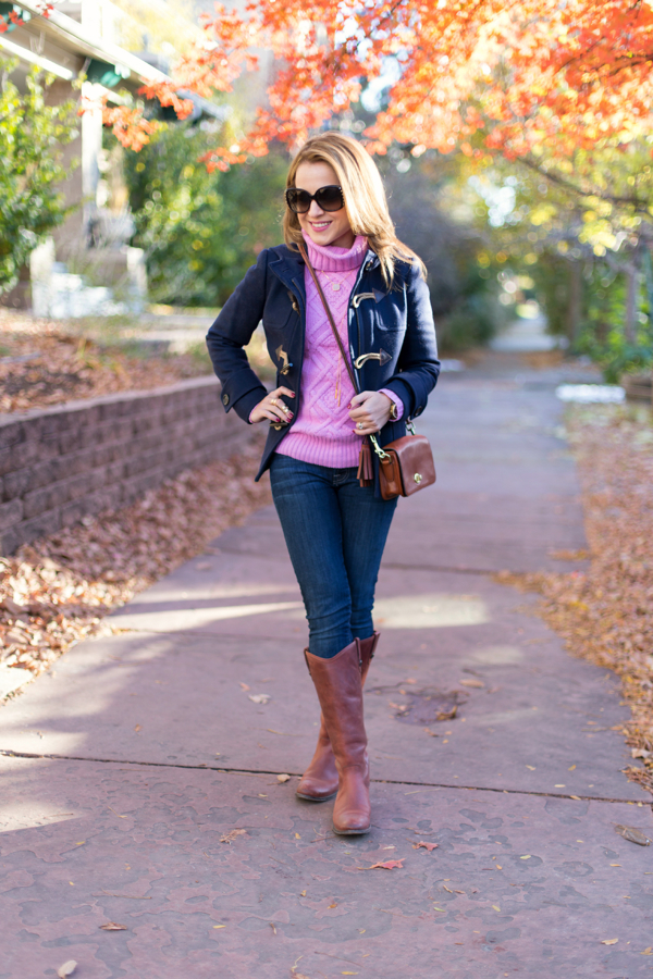 JCrew Cable Sweater + Frye Melissa Boots