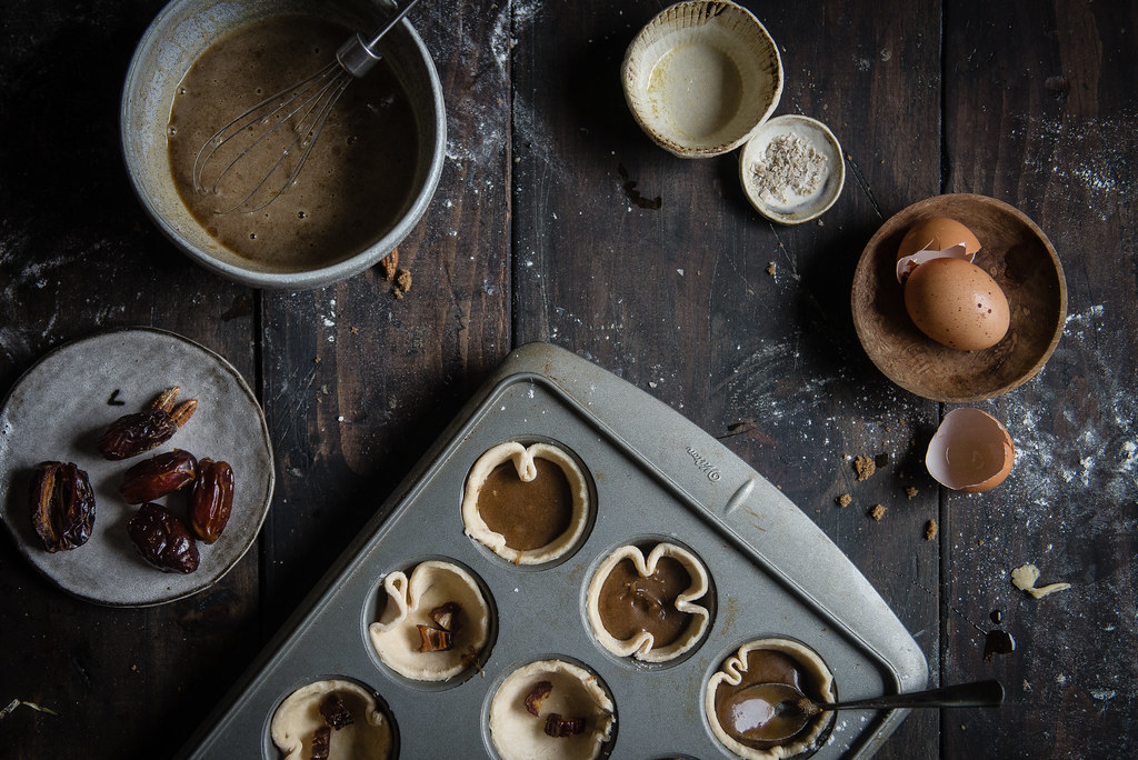 date & maple butter tarts | two red bowls