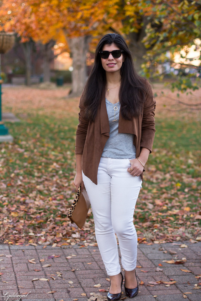 white denim, grey tee, draped jacket, leopard clutch-1.jpg