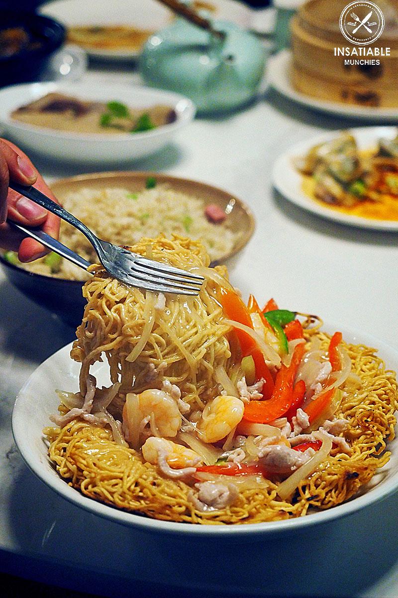 Pan Fried Noodles with Shrimp & Shredded Pork, Taste of Shanghai, World Square. Sydney Food Blog Review