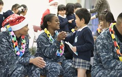 Sailors participate in a community service event.