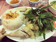 Hainan chicken rice.  Could've been better.   Slightly at average.