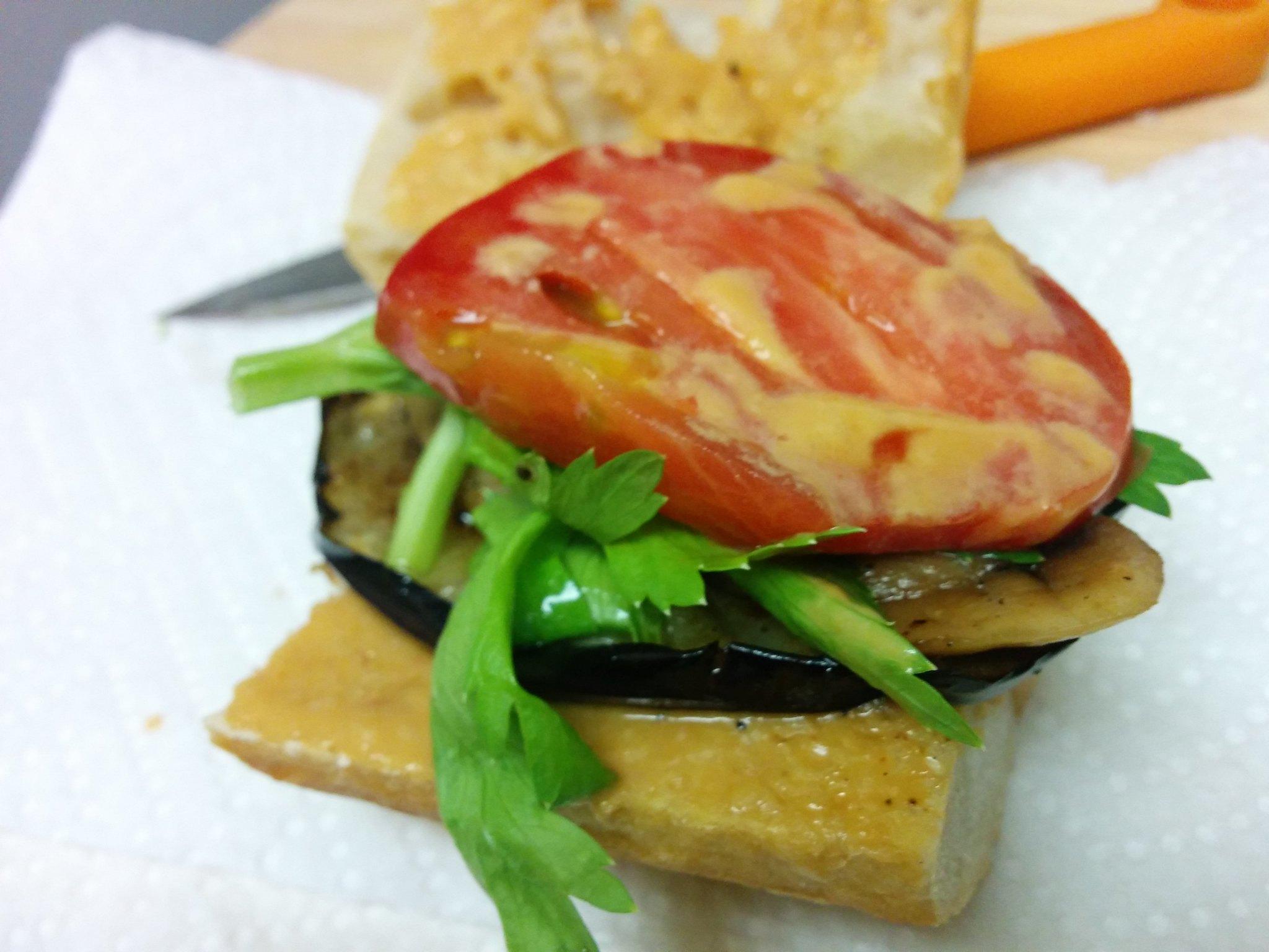 Eggplant and Tomatoes Vegan Sandwich