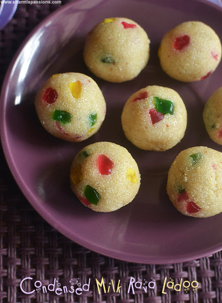 Condensed milk rava ladoo easy diwali sweets sharmis passions rava ladoo with condensed milk forumfinder Image collections