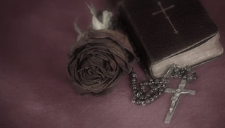 rose, bible and rosary