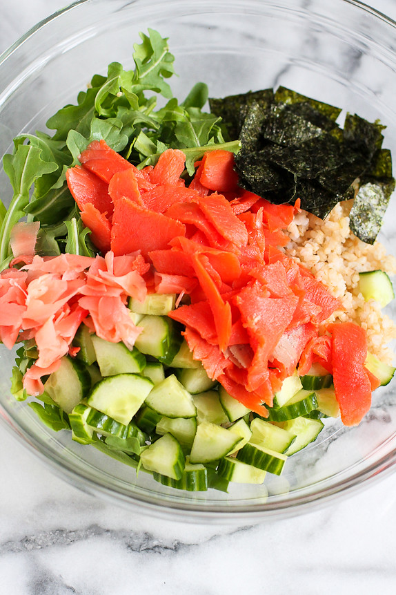Sushi Salad with Wasabi Soy Dressing...If you like the flavors of sushi, you're going to love this salad! 212 calories and 5 Weight Watchers PP | cookincanuck.com #recipe #healthy