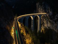 30.10.2015, Landwasser viaduct at night II., Tiefencastel - Filisur