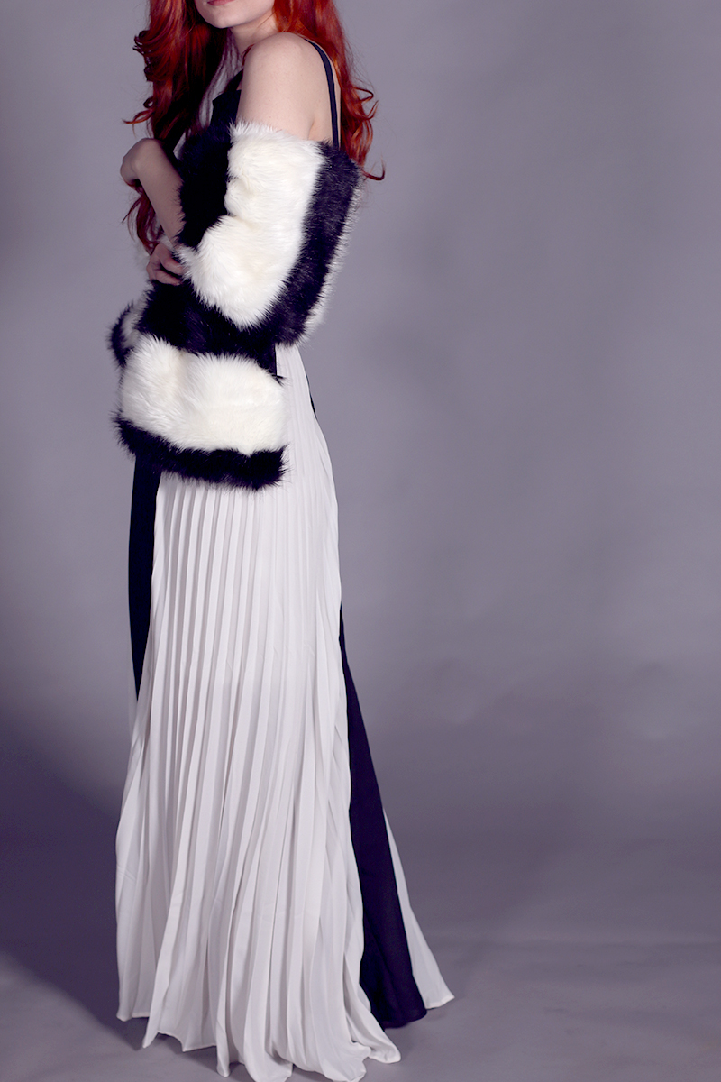 Minimalistic black and white ball gown, maxi dress
