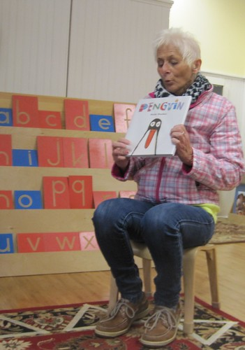 "Gerrie reading ""Penguin"" by Polly Dunbar"