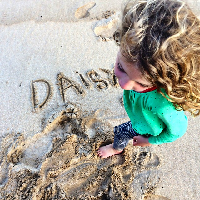 Sand writing. West Cove, Erith Island.