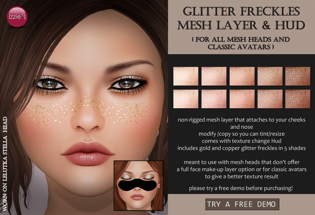 Glitter Freckles Mesh Layer & Hud - SecondLifeHub.com