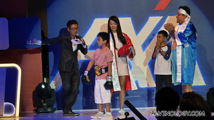 Adrian Pang and his game show participants.