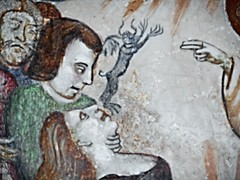 """Devil from exorcism"" (Detail) - ""Histories of Saint Anthony"" - fresco by Unknown painter, beginning 15th century - San Francesco Church at Giffoni Valle Piana / Salerno"