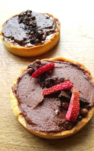 1. Chocolate mousse, hazelnut and nutella tart 2. Salted caramel, chocolate mousse and strawberries tart