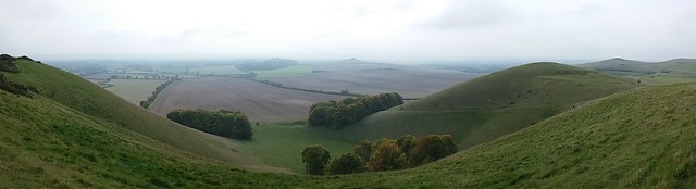 Panoramic View into Pewsey Vale , with Knap Hill and Walkers Hill on the right