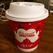 Peppermint hot chocolate in holiday cup