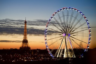 The Eiffel Tower and Ferris Wheel on the Place de la Concorde as Seen from Secretary Kerry's Hotel in Paris