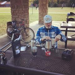 Pre-ride coffee brewing.