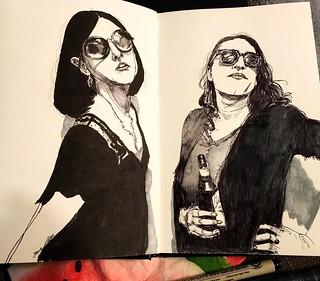 Emily and friends #art #illustration #sketchbook #Sktchy #stillmanandbirn #portraiture #brushpen #instamood #artagram #penandink
