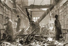 #Holland House, Kensington, London. An interior view of the bombed library at Holland House with readers apparently choosing books regardless of the damage, 1940. [892 x 600] #history #retro #vintage #dh #HistoryPorn http://ift.tt/2fdwjco
