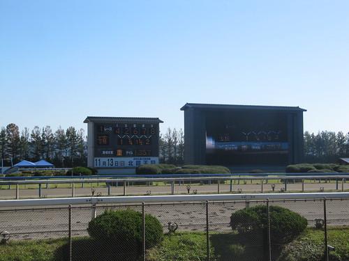 金沢競馬場の着順掲示板とビジョン
